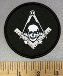 4998 W - Round Mason Patch With Ruler And Skull With Crossbones - Embroidery Patch