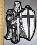 5000 CP - Black And White Crusader Knight - With Sword And Shield - Full Armor -  Back Patch - Embroidery Patch