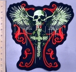 5006 C - Red Celtic Design With Celtic Cross And Skull Wing Open Wings - Back Patch - Embroidery Patch