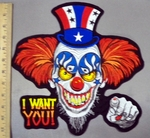 5012 C - Patriotic Evil Clown - I WANT YOU! - Back Patch - Embroidery Patch