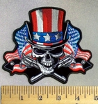 5020 CP - Uncle Sam Skull Face With American Flag Top Hat - Embroidery Patch