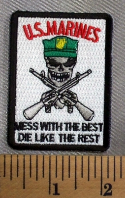 5030 CP - U.S.Marines -  - Mess With The Best - Die Like The Rest - MIlitary Skull With Two Rifles - Embroidery Patch