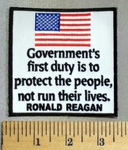 5031 CP - Government's First Duty Is To Protect The People, Not Run Their Lives. - Ronald Reagan - American Flag - Emroidery Patch