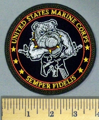 5041 CP - United States Marine Corps - Semper Fidelis - Bulldog With Two Rifles - Round - Embroidery Patch