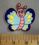5047 C - Cartoon Style Pink Butterfly - Embroidery Patch