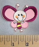 5056 C - Cartoon Style Pink Butterfly - Embroidery Patch