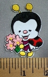 5058 C - Cartoon Style - Bumblebee With Flowers - Embroidery Patch