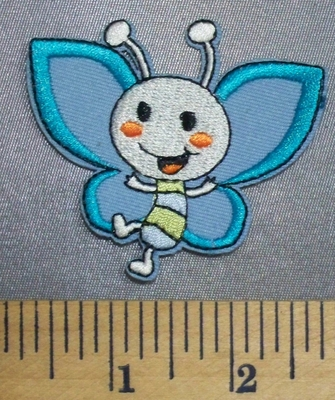 5060 C - Cartoon Style - Blue Butterfly - Embroidery Patch