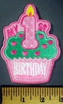 5066 C - My 1St Birthday - Girl - Cupcake With Candle - Pink - Embroidery Patch