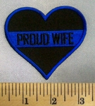 5067 CP - Black Heart With Police Blue Line - Proud Wife - Embroidery Patch