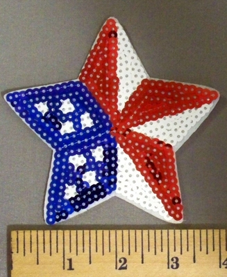 5077 C - Sequinned American Flag Star - Embroidery Patch