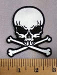 5078 G - REFLECTIVE - Skullface with Crossbones - Gray - Embroidery Patch