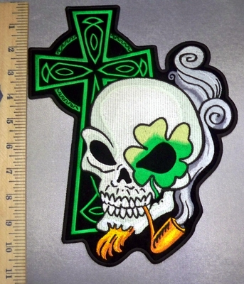 5115 CP - Irish Celtic Green Cross - Four Leaf Clover Eye On Skull Smoking Pipe -Back Patch - Embroidery Patch