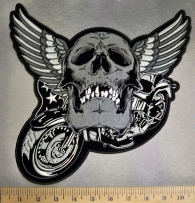 5116 CP - Smiling Skull Face With Angel Wings On A Motorcycle - Back Patch - Embroidery Patch