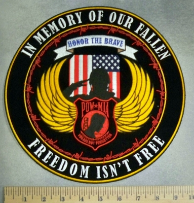 5120 CP - In Memory Of Our Fallen - Freedom Isn't Free - POW - MIA -With Angel Wings - Soldier Saluting With American Flag - Round - Back Patch - Embroidery Patch