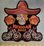 5122 CP - Mexican Biker -  Skull Face With Mexican Sombrero - Two Roses - Two Motorcycles - Back Patch - Embroidery Patch