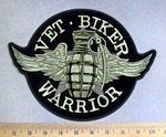 5123 G - Vet - Biker Warrior - Grenade With Pin - Angel Wings - Back Patch - Embroidery Patch