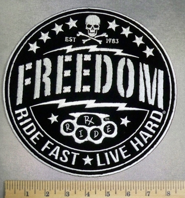 5124 G - FREEDOM - Ride Fast - Live Hard - Lighting Bolts and Skull With Crossbones - Round - Back Patch - Embroidery Patch