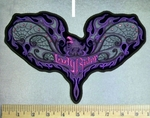 5128 G - Rhinestone - Bling - Open Winged Purple Phoenix - Lady Rider - Back Patch - Embroidery Patch