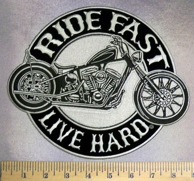 5129 G - Ride Fast - Live Hard - Motorcycle - Back Patch - Embroidery Patch