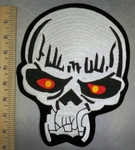 5130 S - White Skull Face With Red - Yellowish Eyes - Back Patch - Embroidery Patch