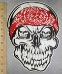 5133 S - Grinning White Skullface - Mini Skull Eyes - Red Bandana - Back Patch - Embroidery Patch
