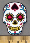 5141 CP - White Sugar Skull With Spade In Forehead And Eyes - Embroidery Patch