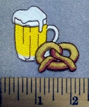 5153 C - Mug Of Beer And Pretzel - Embroidery Patch