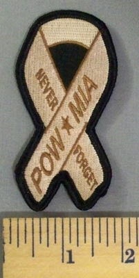 5154 S - Never Forget - POW*MIA - Tan Ribbon - Embroidery Patch