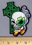 5160 CP - Irish Celtic Green Cross With 4 Leaf Clovered Eye On Skull - Smoking Pipe -Embroidery Patch