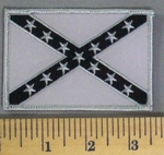5171 S - Gray Confederate Flag - Gray Border - Embroidery Patch