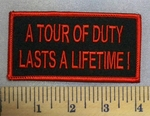 5178 S - A Tour Of Duty Lasts A Lifetime! - Red - Embroidery Patch