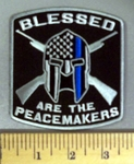 5181 CP - BLESSED - Are The Peacemakers - Armor With Blue Line - Two Rifles - Embroidery Patch