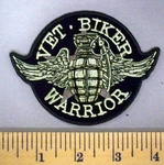 5186 G - Vet - Biker Warrior - Grenade With Pin - Angel Wings - Embroidery Patch