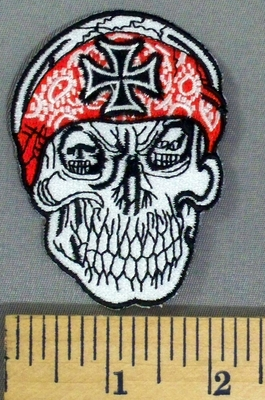 5188 S - Grinning Skull - Red Bandana With Chopper/Iron Cross Logo - Embroidery Patch