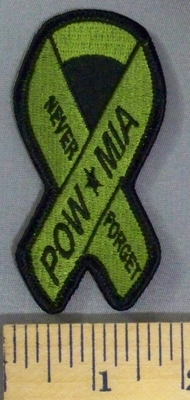 5202 S - Never Forget - POW *MIA - Army Green Ribbon - Embroidery Patch