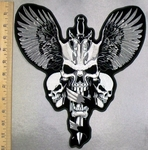 5206 G - Triple Skull Face On Sword - Wings - Back Patch - Embroidery Patch