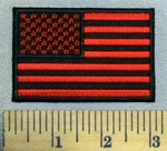 5207 CP - Red And Black American Flag - 3 Inch - Embroidery Patch