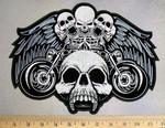 5212 CP - Large Skull Head With 5 Small Skull - 2 Bikes With Wings - Back Patch - Embroidery Patch