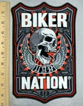 5217 G - Biker Nation Shield With Skull And Wings - Back Patch - Embroidery Patch
