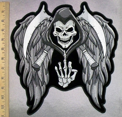 5219 CP - Reaper With 2 Scythes - Wings - Middle Finger - Back Patch - Embroidery Patch