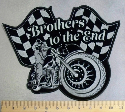 5221 CP - Brothers Til The End - 2 Checkered Flags -Rider On  Motorcycle - Back Patch - Embroidery Patch-