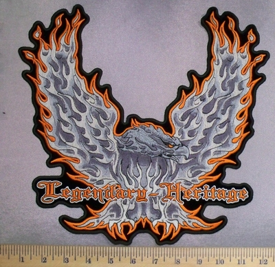 5230 N - Orange Fire Tipped Wings - Bald Eagle -Legendary Heritage - Back Patch - Embroidery Patch