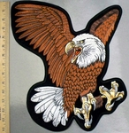 5231 R - 13 Inch Brown Winged Bald Eagle - Back Patch - Embroidery Patch