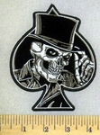 5232 G - Ace Of Spades With Skullface And Tophat - Embroidery Patch