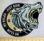 5234 CP - Howling Wolf - No Club - No Rules - Just Ride - Back Patch - Embroidery Patch