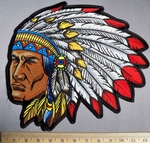 5235 CP -  Indian Chief With Full Head Dress - Back Patch - Embroidery Patch