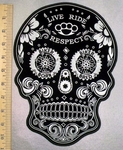 5238 CP - Black Sugar Skull - Live - Ride - Respect - Back Patch - Embroidery Patch