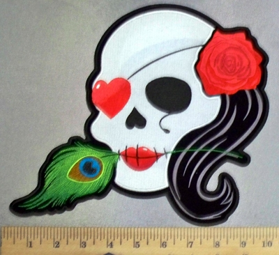 5241 CP - White Sugar Skull With Heart Eye Patch - Feather And Red Rose - Back Patch  - Embroidery Patch
