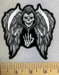5243 CP - Reaper With 2 Scythes - Wings - Middle Finger - Embroidery Patch